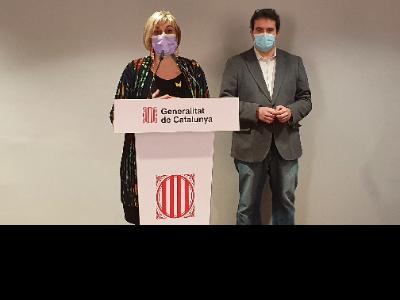 Alba Vergés i Adrià Comella durant la roda de premsa