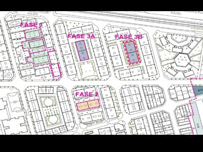 Plànol de les fases del Projecte d'Esponjament del barri de Ca n'Anglada de Terrassa.