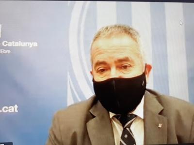 El delegat del Govern a les Terres de l'Ebre, Xavier Pallarés, atén els mitjans després del Consell de Direcció