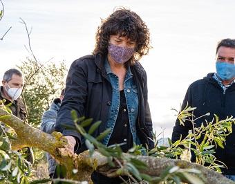 La consellera Jordà visitant la finca d'oliveres d'Horta de Sant Joan afectada pel temporal Filomena