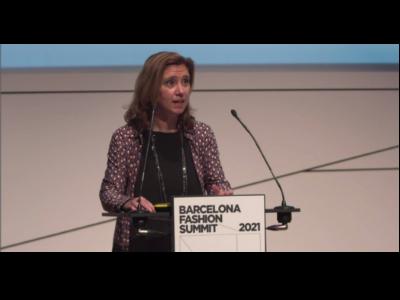 La directora Muntsa Vilalta en la inauguració del Barcelona Fashion Summit
