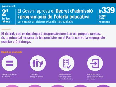 El decret, que es desplegarà progressivament, és la principal mesura de les previstes en el Pacte contra la segregació escolar a Catalunya