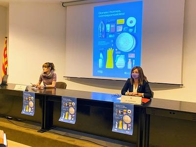 La delegada, Alba Camps, i la presidenta de l'ICD, Laura Martínez, en la presentació de la campanya