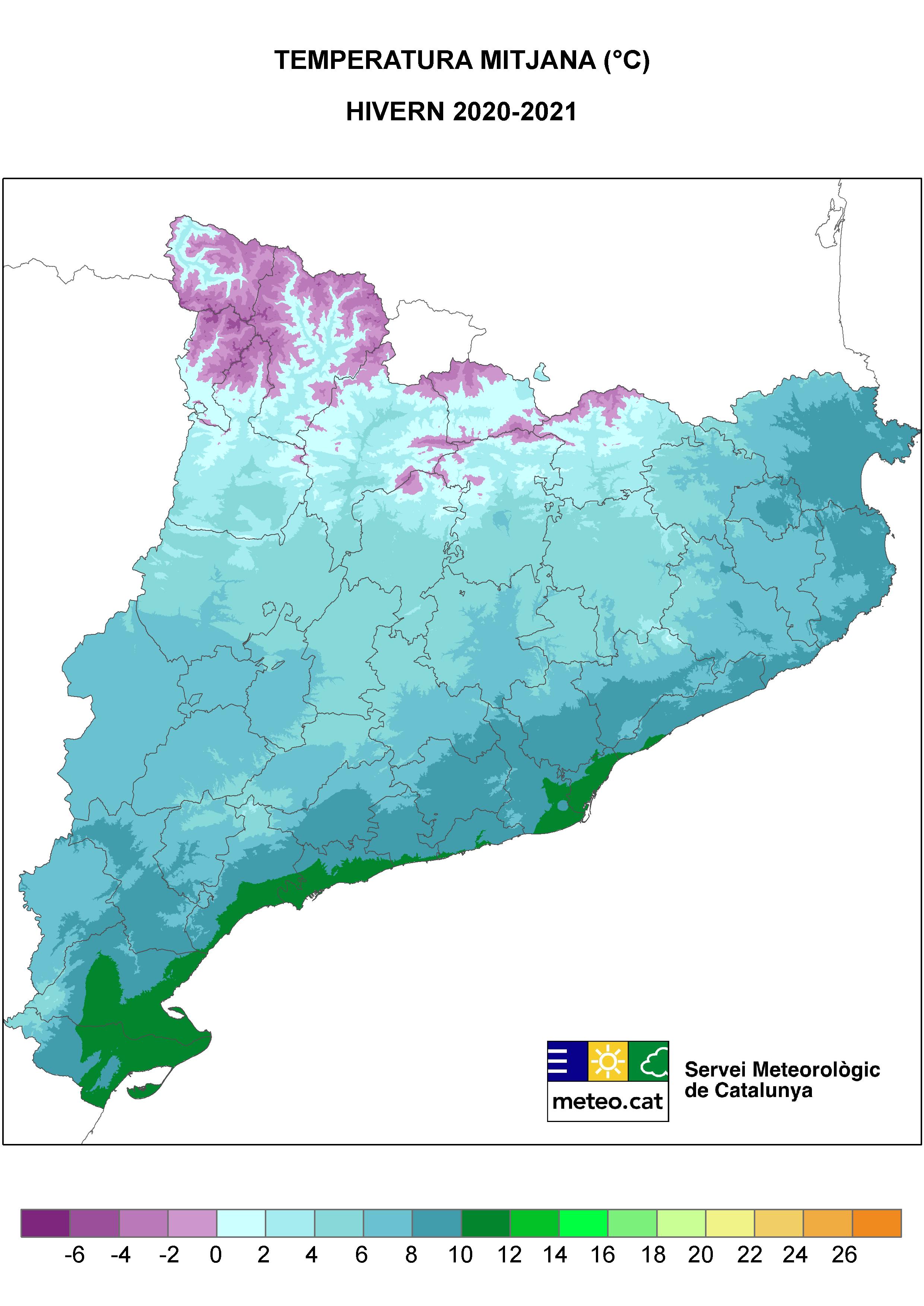 Mapa Temperatura Mitjana mensual de l'hivern 2021