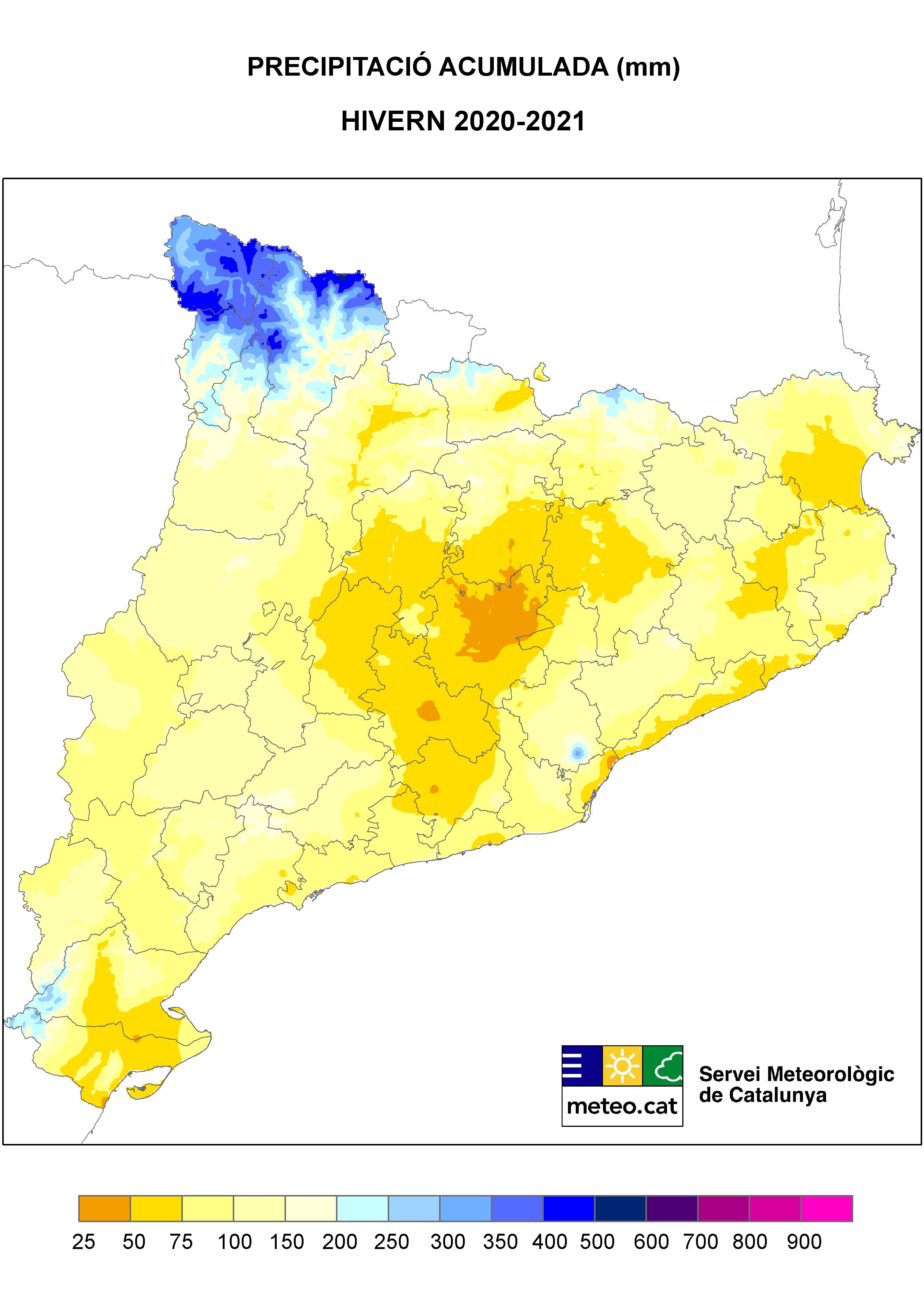 Mapa de Precipitació de l'hivern 2021