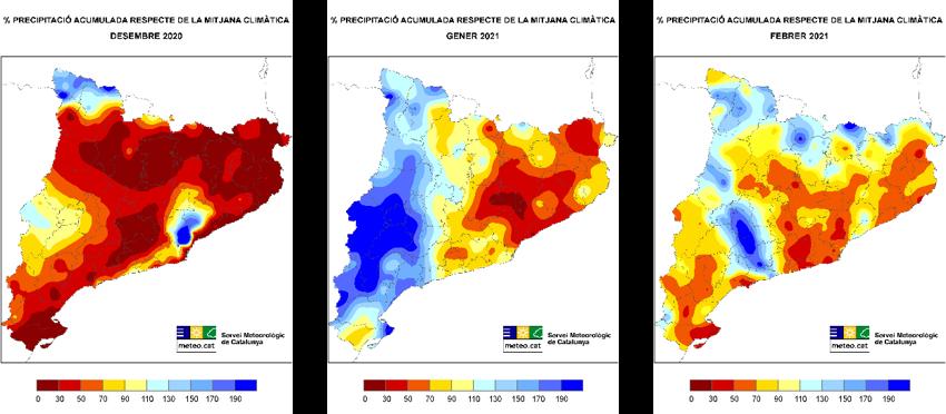 Mapes del percentatge de precipitació respecte de la mitjana climàtica 1961-1990 dels mesos de l'hivern 2020-2021 (desembre, gener i febrer)