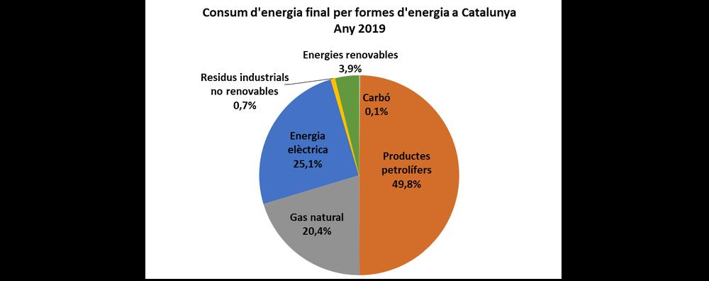 Consum d'energia final per formes d'energia