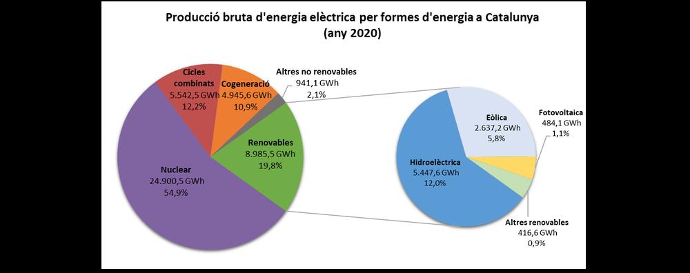 Producció bruta d'energia elèctrica a Catalunya (2020)