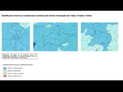 Modificació del mapa envers Talarn, Prades i Falset