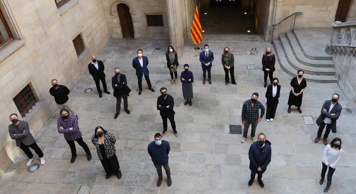 El vicepresident Aragonès i les conselleres Budó i Ponsa reben a Palau els guanyadors de la XIII edició dels Premis Gaudí
