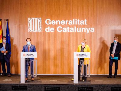 Aragonès, Vergés, Argimon i Comella, durant la roda de premsa