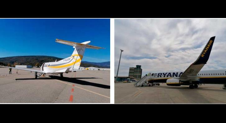 Imatges dels aeroports d'Andorra-La Seu i Lleida-Alguaire.