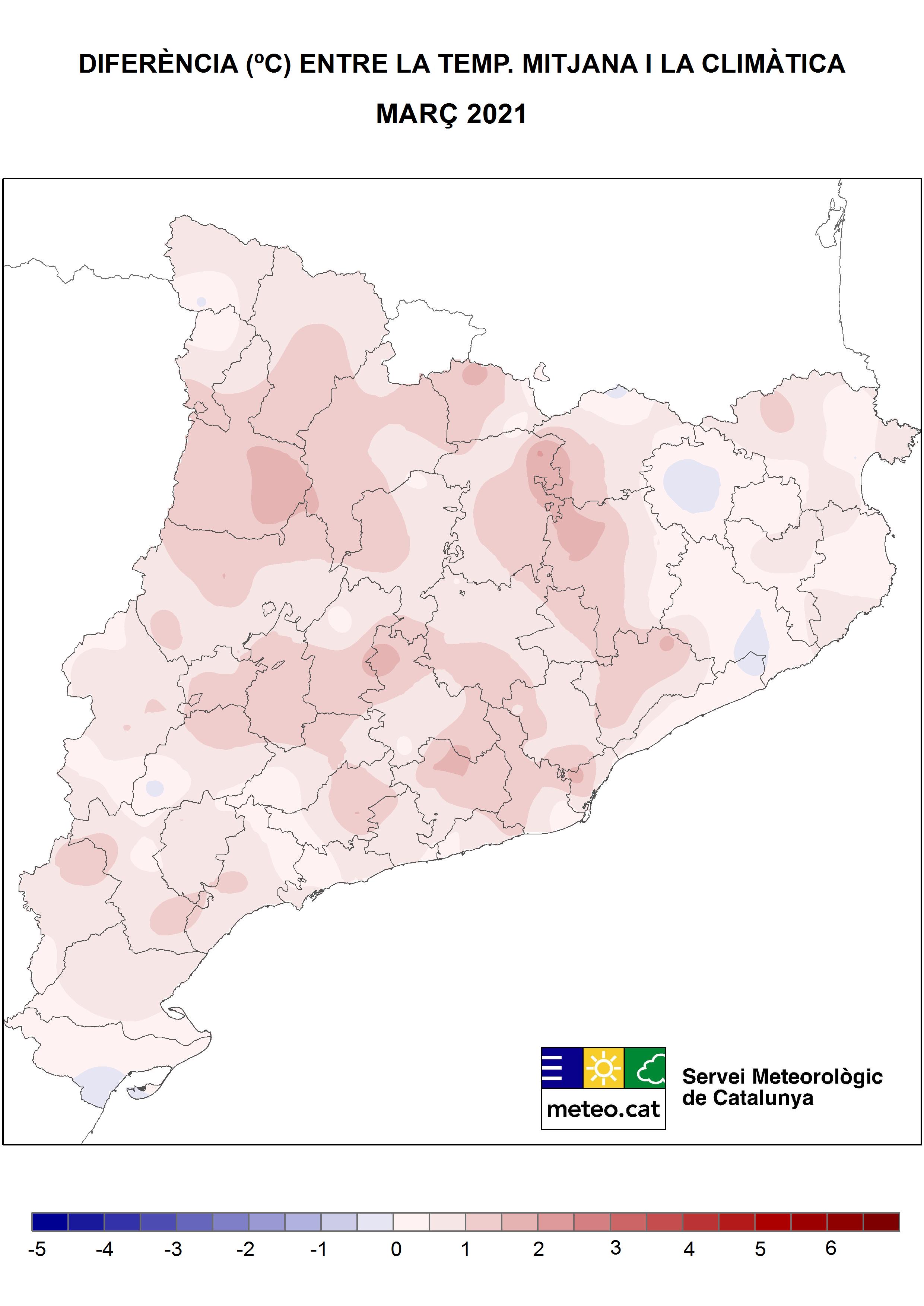 Mapa Anomalia Temperatura Març