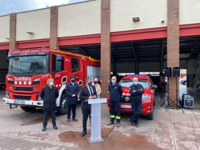 El conseller Sàmper visita les obres de remodelació i ampliació del nou parc dels Bombers de la Generalitat a Girona