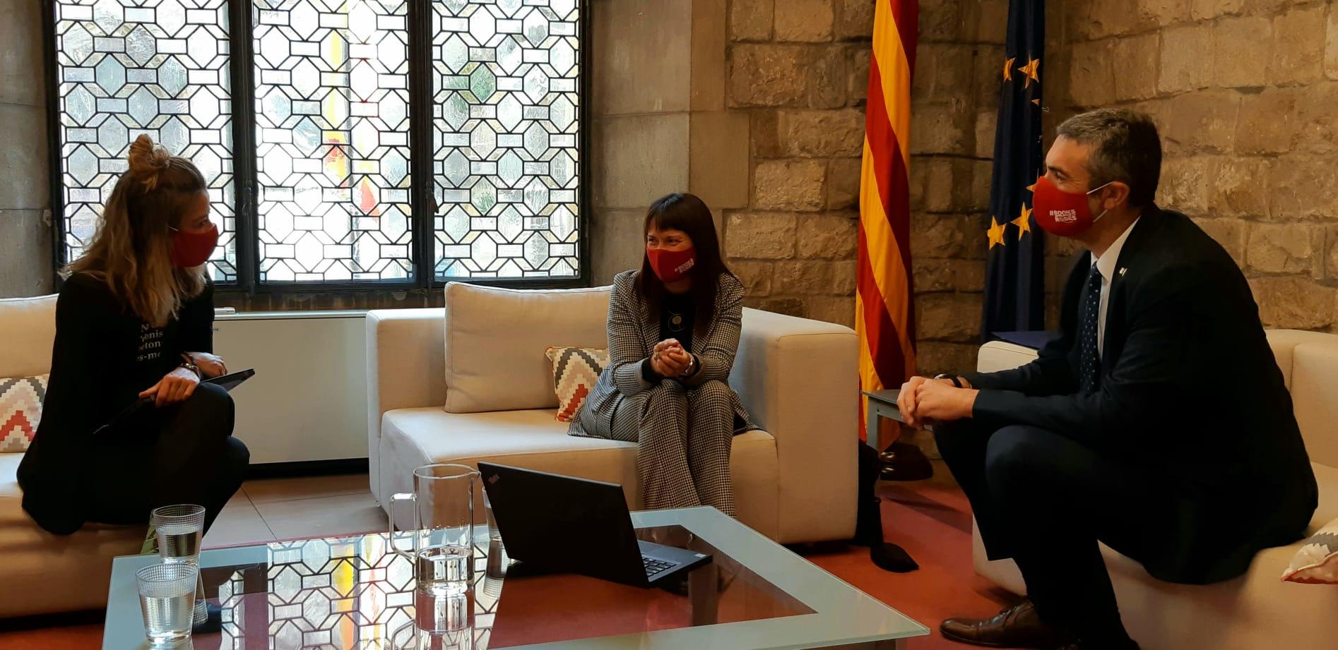 La secretària d'Acció Exterior i de la Unió Europea, Elisabet Nebreda, la secretària general de DIPLOCAT, Laura Foraster i el conseller d'Acció Exterior, Relacions Institucionals i Transparència, Bernat Solé s'han reunit aquest matí.