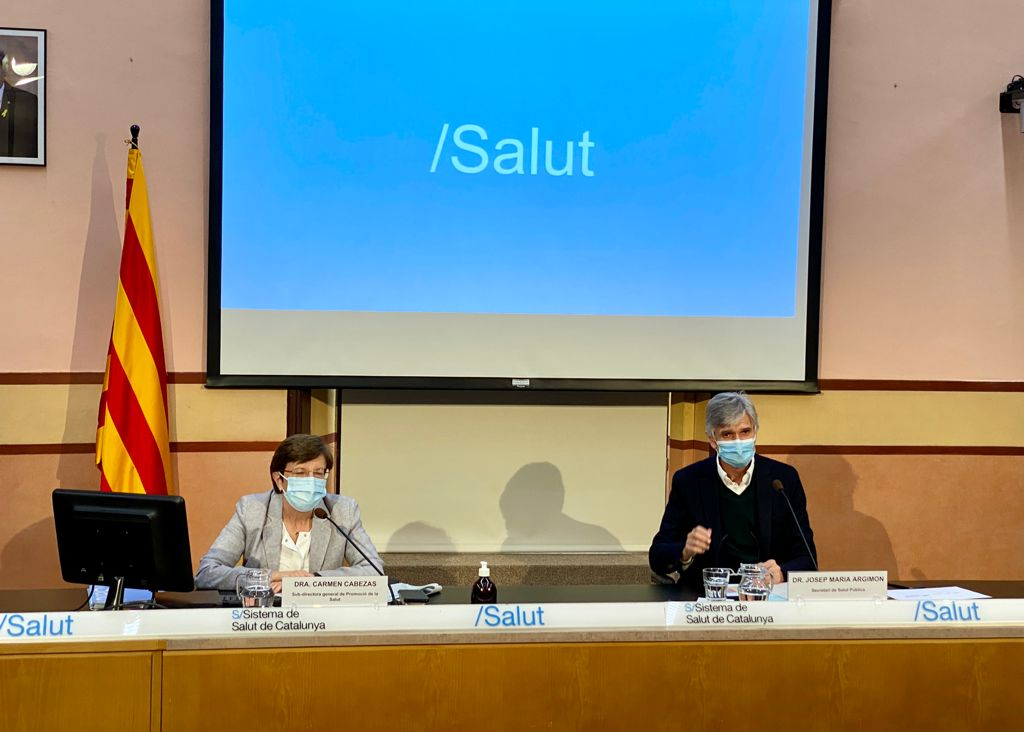 La Dra. Cabezas i el Dr. Argimon durant la roda de premsa d'aquesta tarda