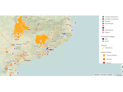 Mapa de localització de punts d'informació geològica al territori