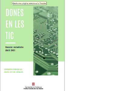 Imatge de la portada del dossier estadístic 'Dones en les TIC 2021'