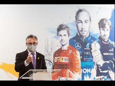 El conseller tremosa, durant l'acte de presentació del GP de F1