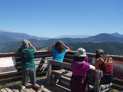 Nens i nenes participen en una activitat per veure ocells durant unes colònies