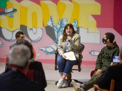 Laia Girós durant la roda de premsa