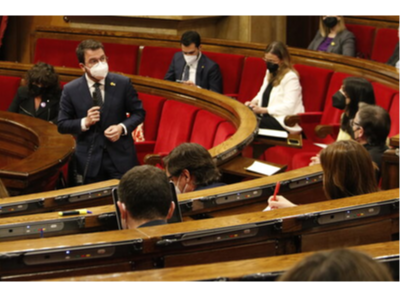 El vicepresident Aragonès durant la seva intervenció a la sessió plenària (ACN)