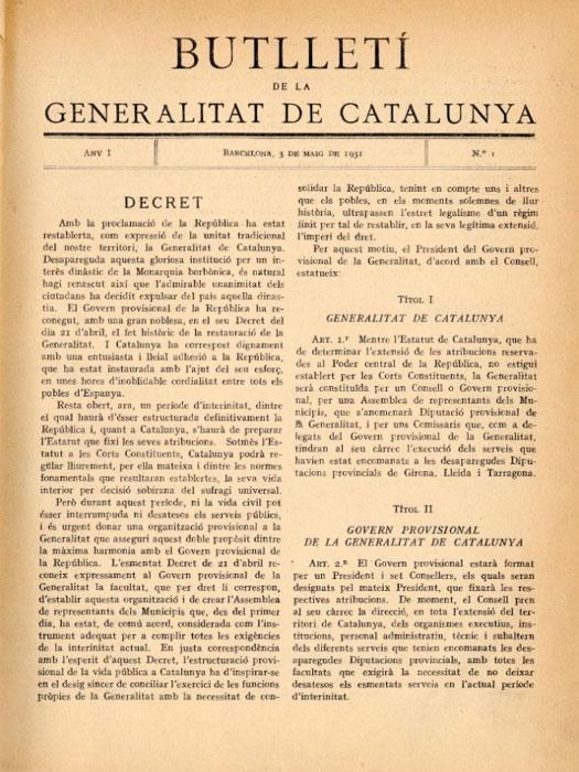 primer número del Butlletí de la Generalitat de Catalunya , de 3 de maig de 1931.
