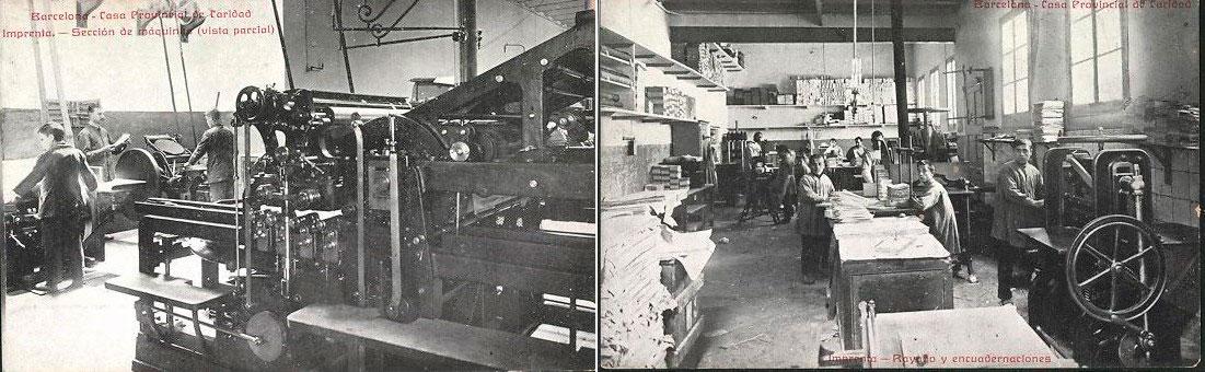 D'esquerra a dreta, la impremta i la secció d'enquadernació de la Casa de la Caritat de Barcelona, on es va imprimir el DOGC des de l'any 1931 fins a mitjan dels anys 80.