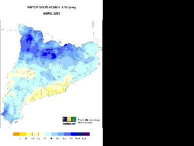Mapa de precipitació acumulada abril 2021