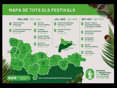 Mapa amb la localització i el calendari de tots els festivals de senderisme