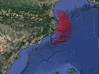 Esquema de la cobertura estimada dels corrents marins que tindrien els sistemes de dues antenes de radar HF en la regió de Begur-cap de Creus
