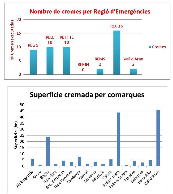 Taules: cremes per Regions d'Emergències i comarques