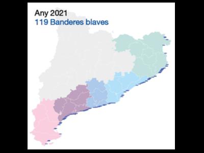Mapa amb les Banderes Blaves concedides enguany a platges catalanes