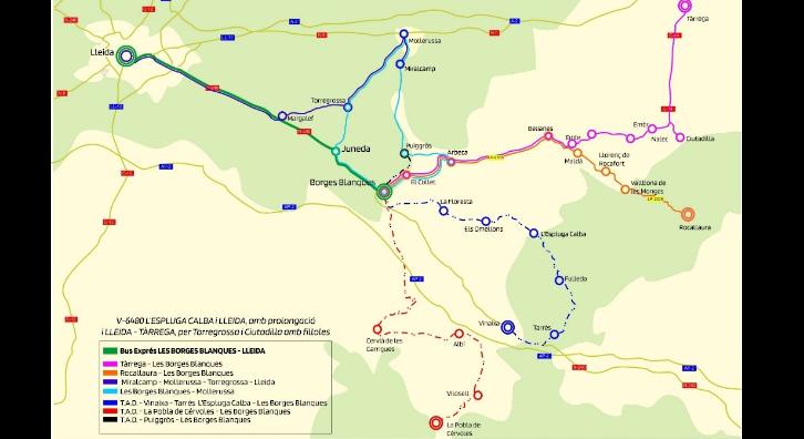 Plànol exprés Borges Blanques-Lleida