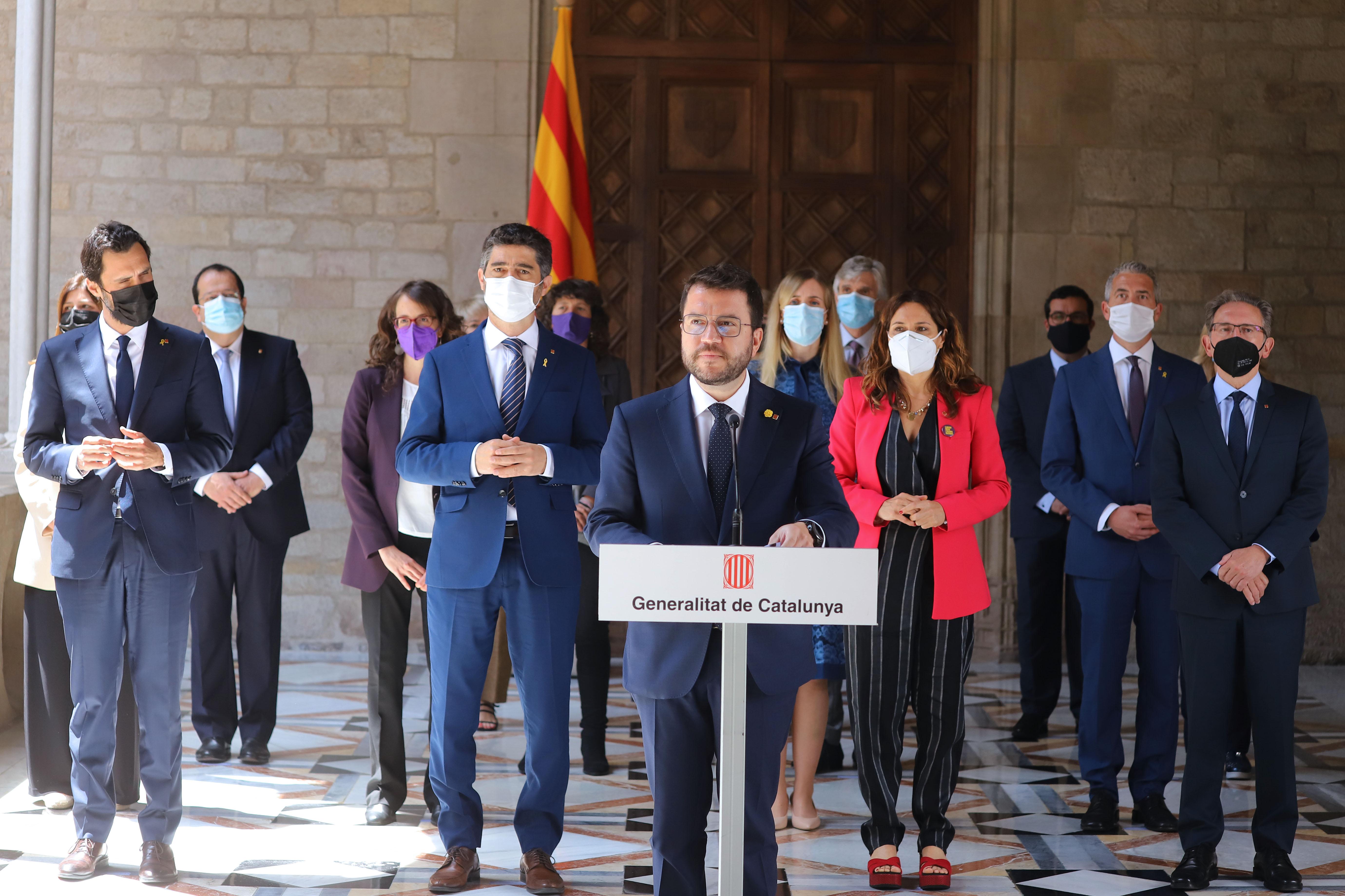 Compareixença del president Aragonès acompanyat de tot el Govern (Autor: Ruben Moreno)