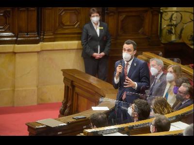 El conseller Torrent durant la seva intervenció al Parlament