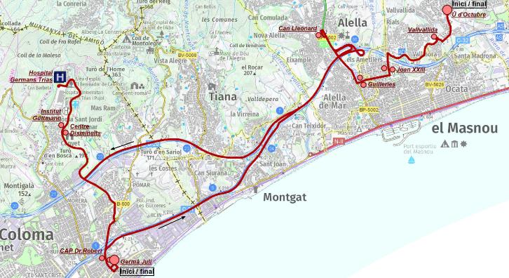 Plànol del recorregut del bus sanitari entre el Maresme i Badalona