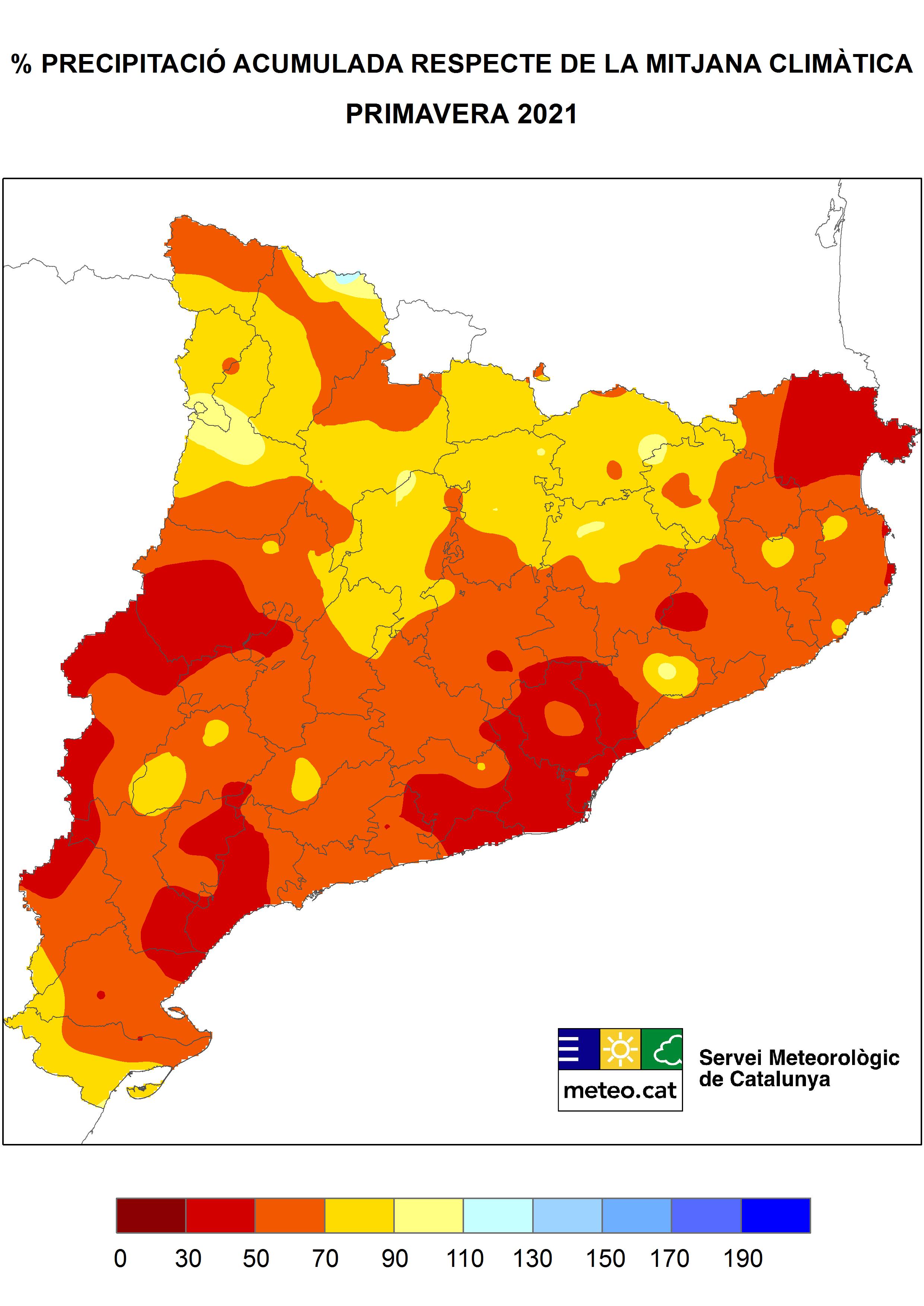 Mapa de l'anomalia de la precipitació primavera