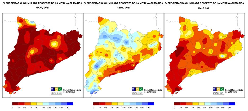 Mapa del percentatge de preciitació respecte la mitjana climàtica dels mesos de la primavera