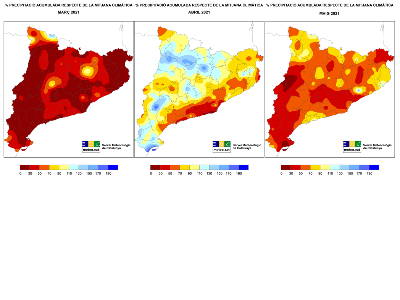 % de la precipitació respecte la mitjana climàtica de la primavera