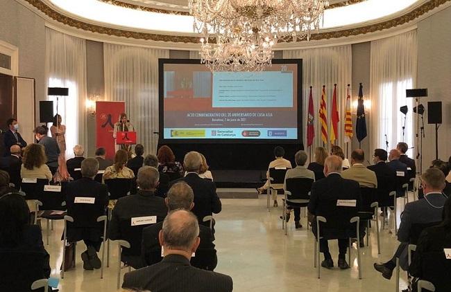 La consellera Alsina, durant la seva intervenció a l'acte celebrat al Palau de Pedralbes.