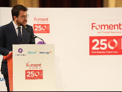 El president Aragonès durant la seva intervenció al 250è aniversari de Foment del Treball (Foto: Rubén Moreno)