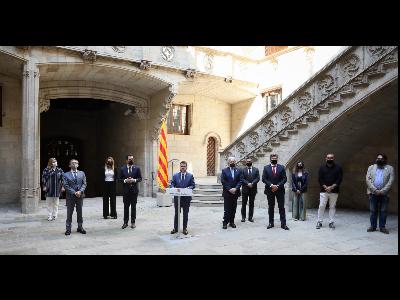 El president ha encapçalat la presentació, que s'ha fet al Pati de Carruatges del Palau. Autor: Jordi Bedmar