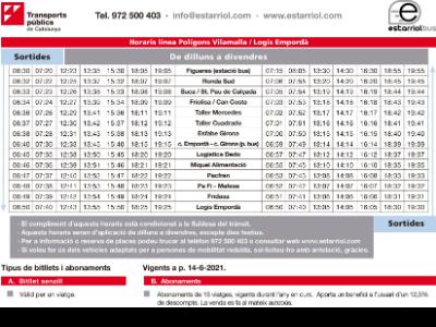 Horaris bus Vilamalla i Logis Empordà
