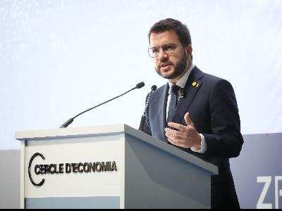 El president Aragonès, durant la seva intervenció. Autor: Jordi Bedmar