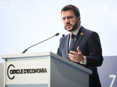 El president Aragonès, durant la seva intervenció