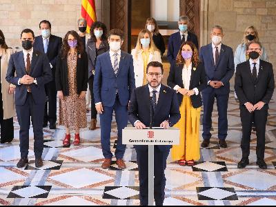 El president Aragonès, en un moment de la compareixença