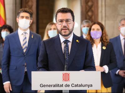 El president Aragonès, en un moment de la compareixença. Autor: Jordi Bedmar