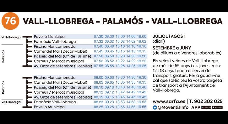 Horaris bus Vall-llobrega-Palamós