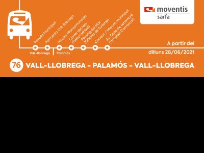 Cartell línia bus Vall-llobrega-Palamós